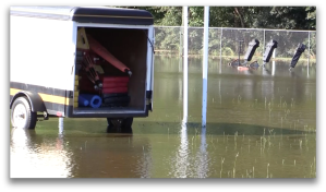 Flooded practice field